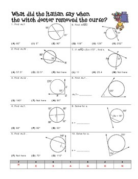 Angle Relationships in Circles Worksheet