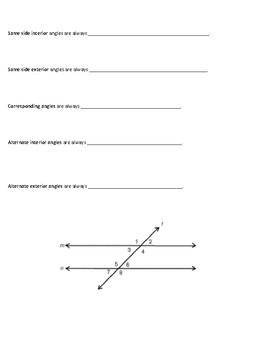 Angle Relationships in Two Parallel Lines Cut by a Transversal