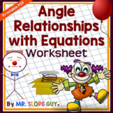 Angle Relationships with Equations PDF Worksheet Geometry