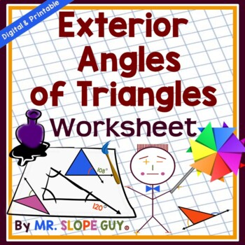 Angle Sum & Exterior Angle of Triangles PDF Worksheet Geometry 8 ...