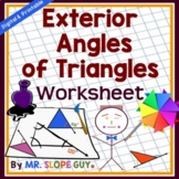 Angle Sum & Exterior Angle of Triangles PDF Worksheet Geom