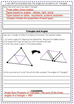 Angle Sum Property - Exploration, Notes and Worksheet