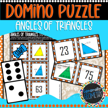 Angle Sum Theorem Domino Puzzle; Geometry, Interior Angles of Triangles