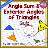 Angle Sum and Exterior Angle of Triangles Quiz (Distance L