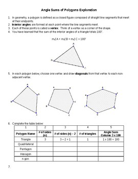 Angle Sums of Polygons Exploration