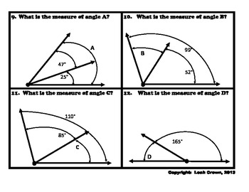 Geometry:  Angle Measurement Game, Find the Missing Angle, CCSS 4.MD.7
