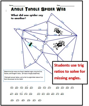 angle tangle spider web solving for angles with sohcahtoa by calfordmath. Black Bedroom Furniture Sets. Home Design Ideas