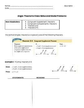 Angle Theorems Proofs Guided Notes