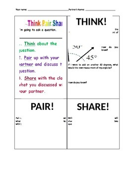 Angle Think pair Share