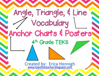 Angle, Triangle, & Line Vocabulary Anchor Charts & Foldables 4th Grade TEKS