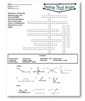 Angle Vocabulary Crossword Puzzle