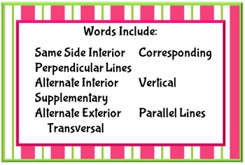 Angle Vocabulary Crossword Puzzle:  Parallel Lines And Transversals Edition