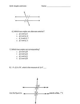 Angle and Line Quiz