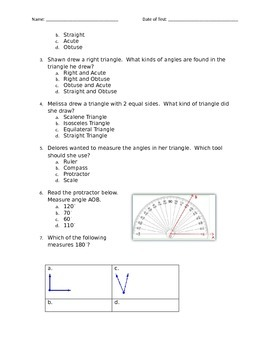 Angle and Triangle Study Guide