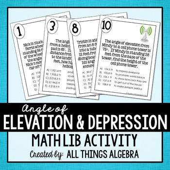 Angle Of Elevation And Depression Math Lib By All Things Algebra