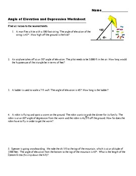 Angle of Elevation and Depression Word Problems using Special Right Triangles