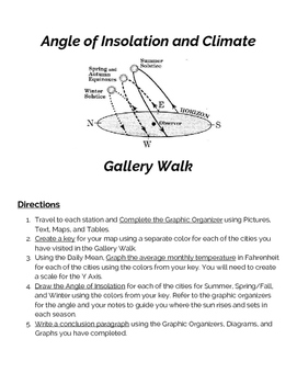 Angle of Insolation and Climate Gallery Walk Worksheet