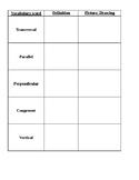 Angle relationships Vocabulary sheet