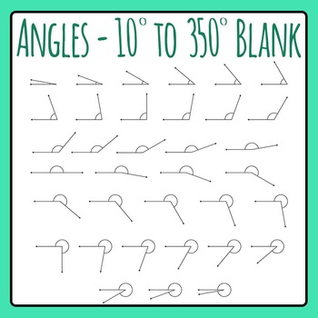 Angles 10 Degrees to 350 Degrees Blank Angles Clip Art for Commercial Use