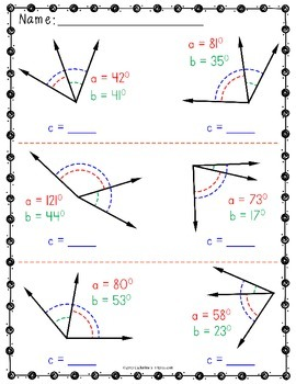 Adjacent Angles Worksheets