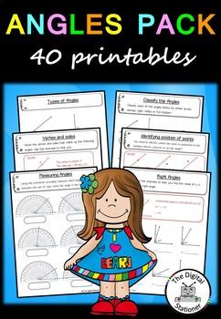 Angles - 40 printable worksheets