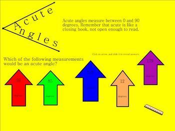 Angles (Acute, Obtuse, 90, Straight)