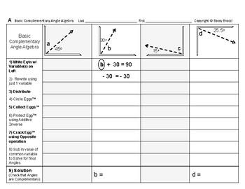 Angles Algebra 01: Solving Basic Complementary & Supplementary Angles