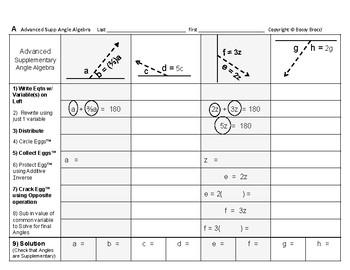 Angles Algebra 03: Solving Advanced Supplementary Angles