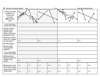 Angles Algebra 08: Parallel Lines & Solving for Transversa