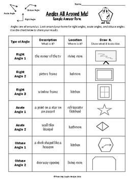 Angles All Around Me - Fun Geometry Homework Discovery Worksheet