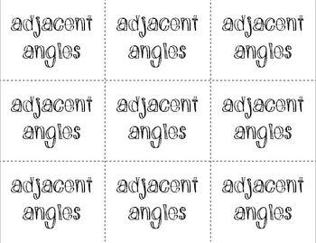 Angles & Angle Relationships (Flash Cards)