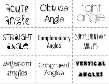 Angles & Angle Relationships (Flash Cards)