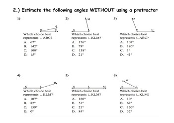 Angles Assessment Test Grades 4 5 6 7