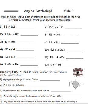 Angles Battleship PLUS Exponents Battleship Using Greater Than Less Than