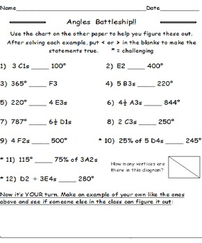 Angles Battleship with Less Than Greater Than