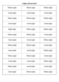Angles Bingo