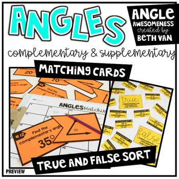 Finding Complementary and Supplementary Angles Task Cards and Activities