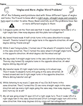 Angles Bundle 7 Worksheets incl. Word Problems