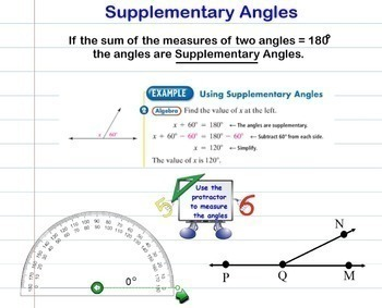 Angles Classifying Complimentary Supplementary Protractor Measuring Smartboard