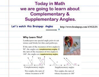 Angles Complementary Supplementary Smartboard Lesson