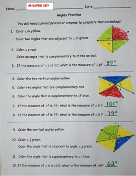 Angles ~ Complementary, Supplementary, Vertical & Adjacent ~ Common Core 7.G