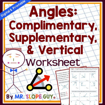 Angles: Complementary, Supplementary, & Vertical PDF Geometry Worksheet