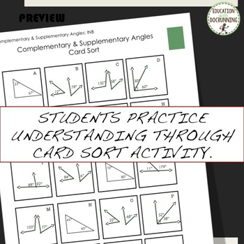 Complementary and Supplementary Angles Interactive Notebook