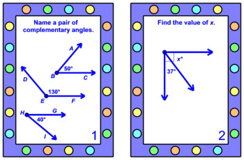 """ANGLES COMPLEMENTARY AND SUPP. TASK CARDS: """"GOOGLE SLIDES"""", SMARTBOARD, POWERPOI"""