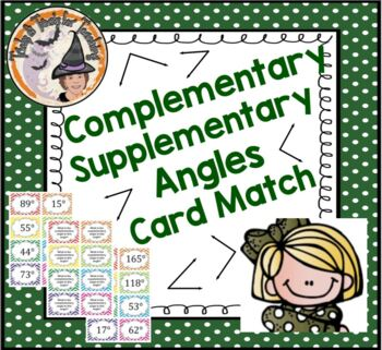 Complimentary Supplementary Angles Card Match Activity