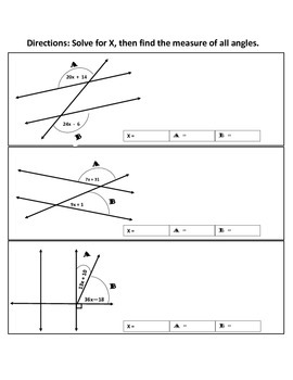 Solve linear equations within angles worksheet
