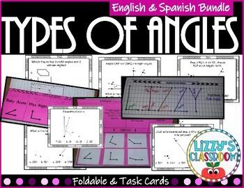 Angles *Foldable & Task Cards* English and Spanish Bundle
