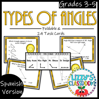 Types of Angles *Foldable & Task Cards *Spanish*