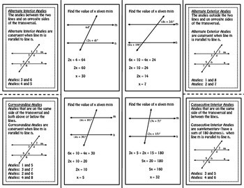 Angles Formed by Parallel Lines Math Foldable