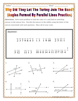 Parallel Lines - Angles Formed by Parallel Lines Thanksgiving Riddle Worksheet